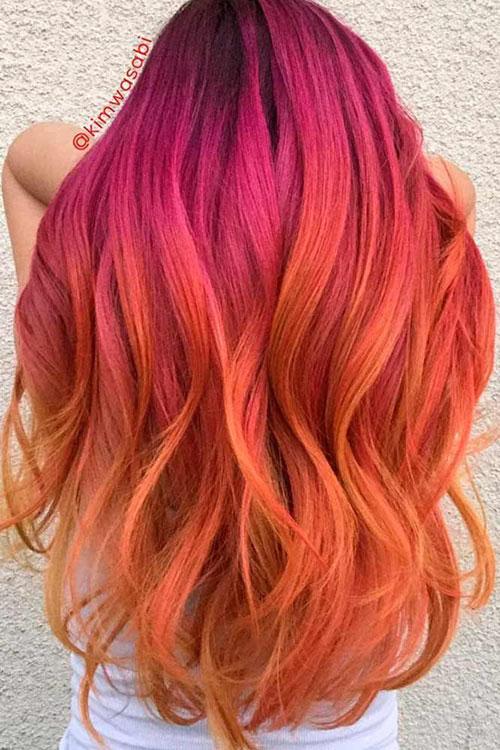 Orange To Pink Hair