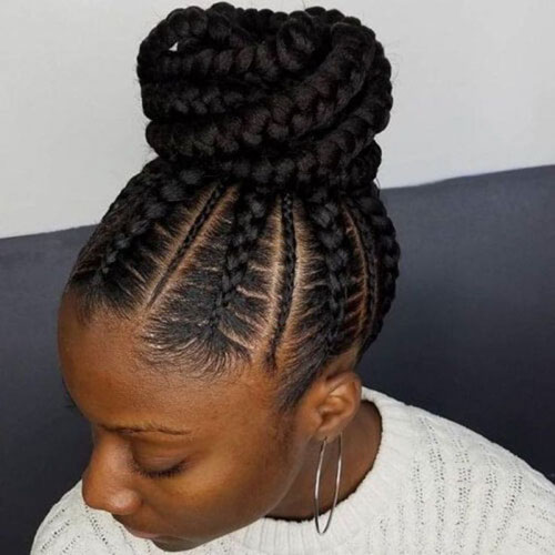 Black Braided Bun Styles